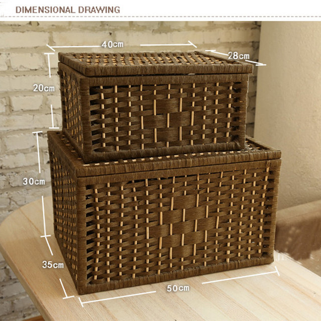 Laundry Storage Baskets Container Paper Rope Cloth Storage Rectangular  Basket With Lid Decorative Wood Organizer Box Large Small