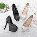 Женские туфли с открытым носком, туфли-лодочки на платформе и очень высоком каблуке 14 см, женские туфли-лодочки с открытым носком, женские ту...