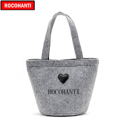 100PCS Custom Logo Printed Felt Tote Bag , Unisex Fashion Wool Felt Bag Christmas Promotional Gift Shopping Bags