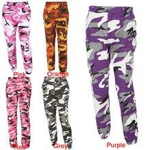 FREE SHIPPING Camouflage Pant High Waist Hiphop Red Pink Purple Orange Grey JKP339