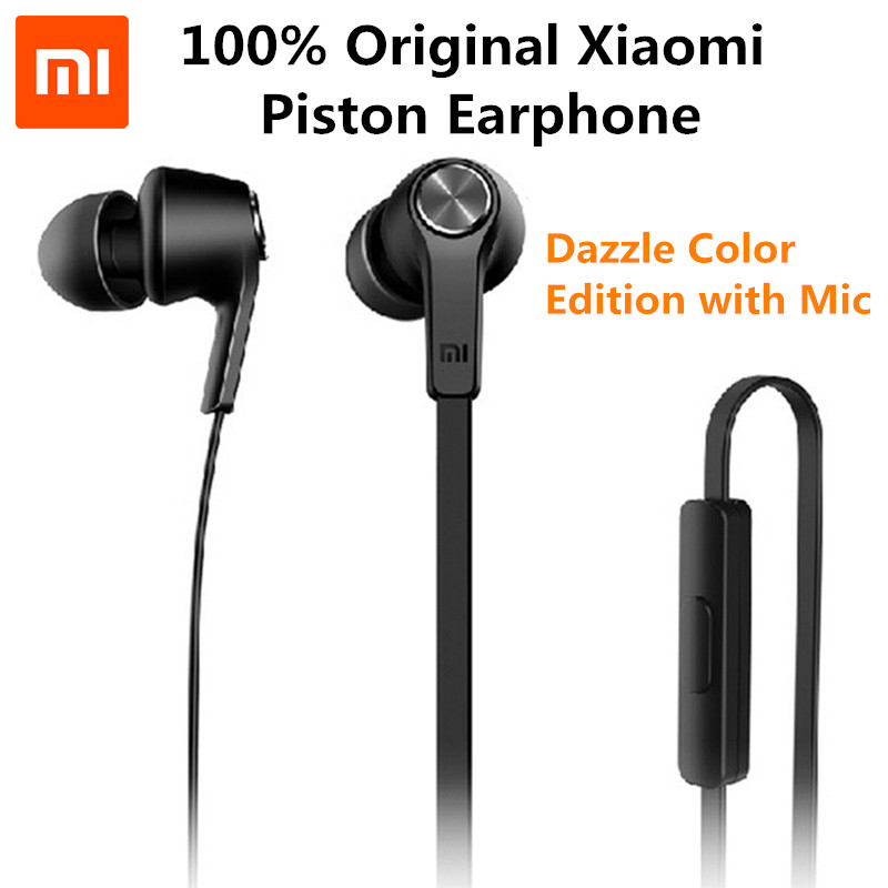 Original Mi Piston 3 Earphone Basic Edition Microphone flat wire Stereo In-Ear Headsets with Mic for Xiaomi Android iOS MP3 PC em290 copper wire earphone in ear with mic clear 3d sound quality handsfree call for android ios smartphone oppo xiaomi mp3 pc