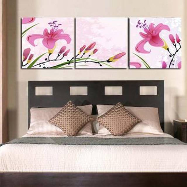 US $9.3 49% di SCONTO|3 pezzi canvas wall art fiori rosa decorazioni murali  camera da letto testiera dipinti ad olio per soggiorno parete picture ...