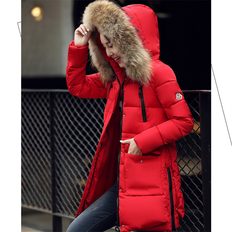 New fashion 2016 winter jacket women real fur collar full sleeve keep warm down cotton thick zipper button pockets slim coat
