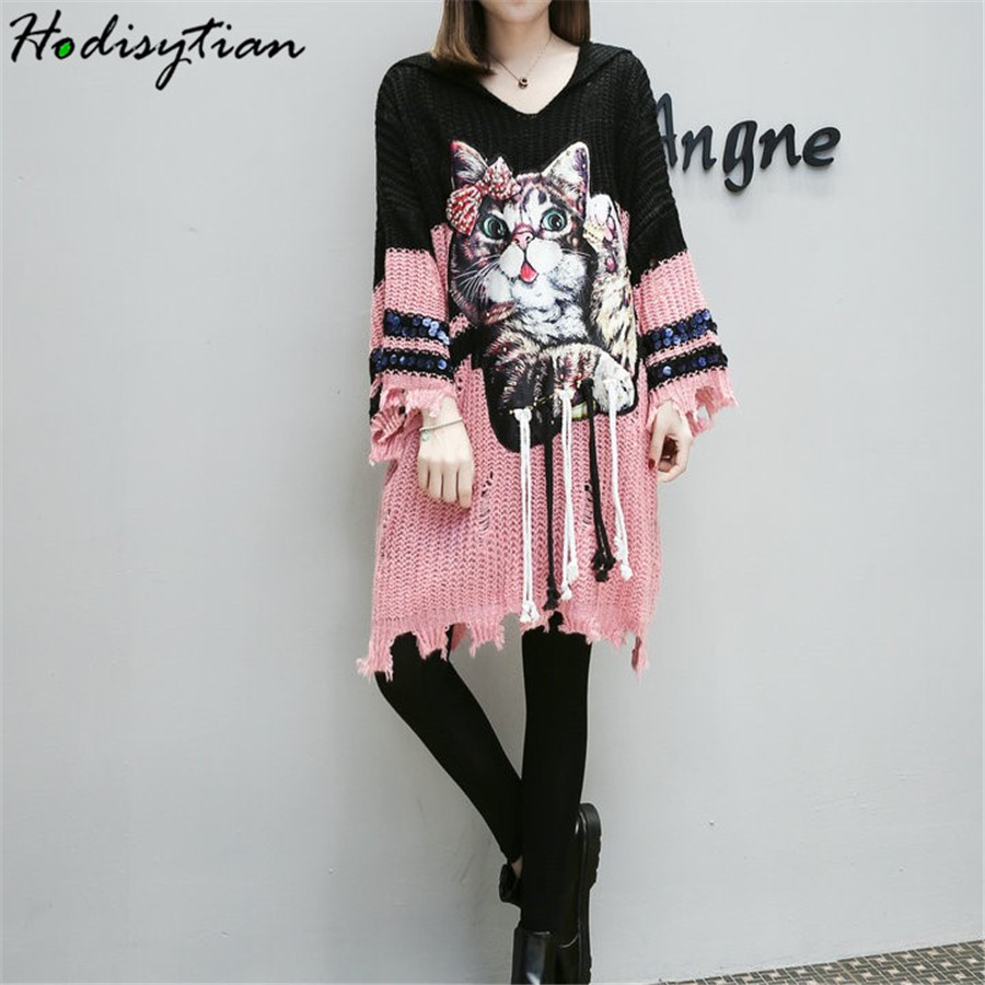 Hodisytian Ins Fashion Women Knitted Hooded Sweater Dress Hole Cartoon Cat Casual Loose Chic Tunic Female Sueter Mujer Plus Size