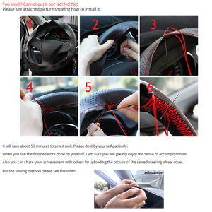 Image 5 - PU Leather Steering Covers 36/38/40CM DIY Car Steering Wheel Cover Soft Leather Braid Design With Needle and Thread Interior Kit