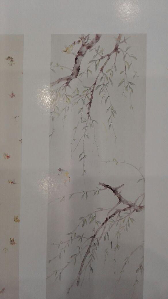 Классический стиль Элегантный Ручная роспись шелковые обои картина ива дерево с птицами обои много искусства/фон опционально - 3