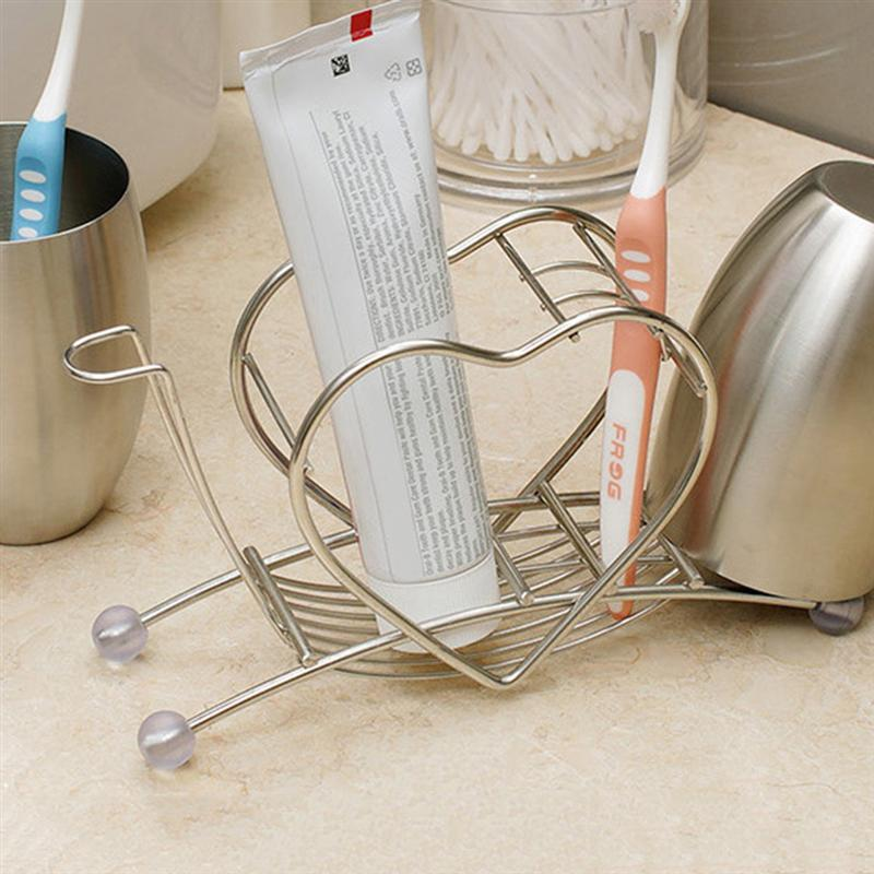 Image 2 - Creative Toothbrush Holder Heart Shape Stainless Steel Toothpaste Toiletries Storage Rack For Home Bathroom Bedroom Daily Use-in Toothbrush & Toothpaste Holders from Home & Garden