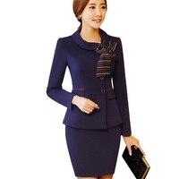 Elegant bow women skirt suits spring formal long sleeve slim Business blazer with skirt office ladies plus size uniform