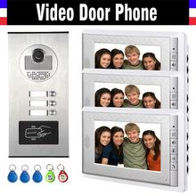 3 Units Apartment Intercom System Video Intercom Video Door Phone Kit HD Camera 7 Inch Monitor with RFID keyfobs for 3 Household