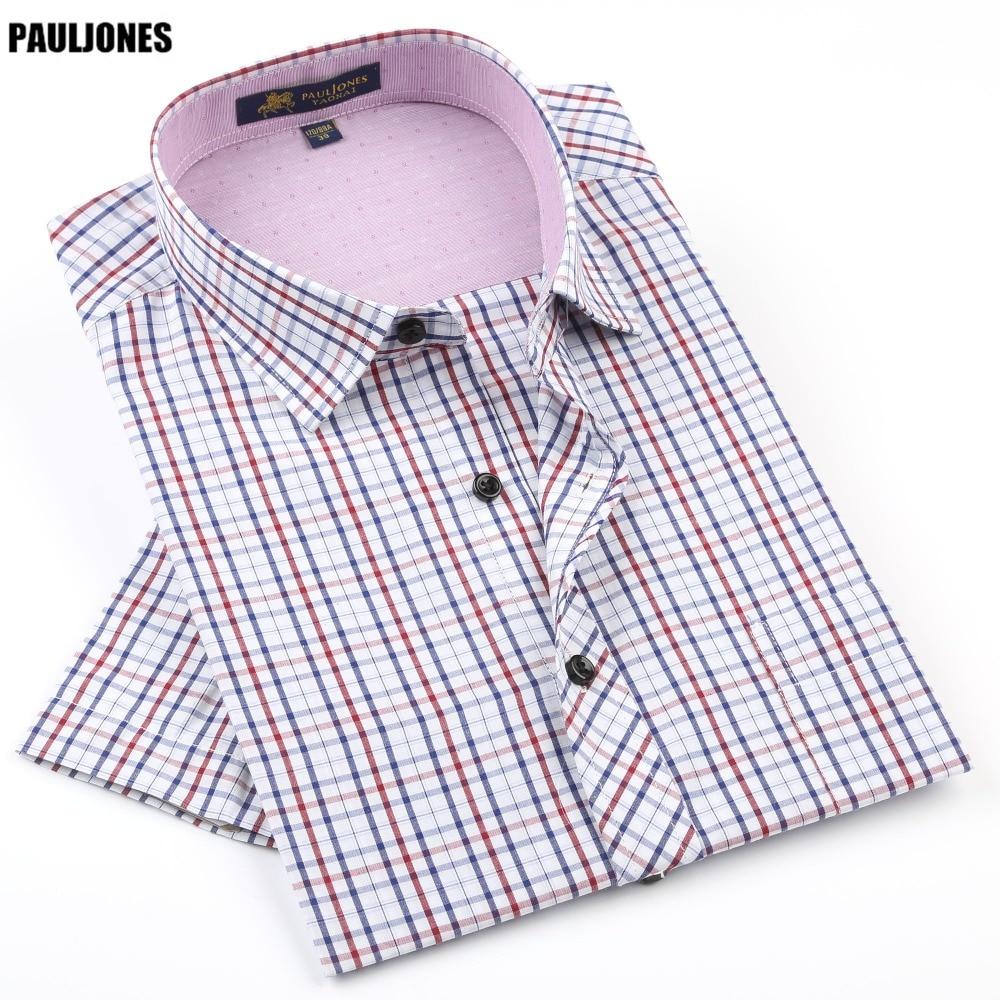 PaulJones 42xx 여름 남성 체크 무늬 반소매 셔츠 여가 스타일 슬림 피트 캐주얼 셔츠 꽃 프린트 / 체크 무늬 의류