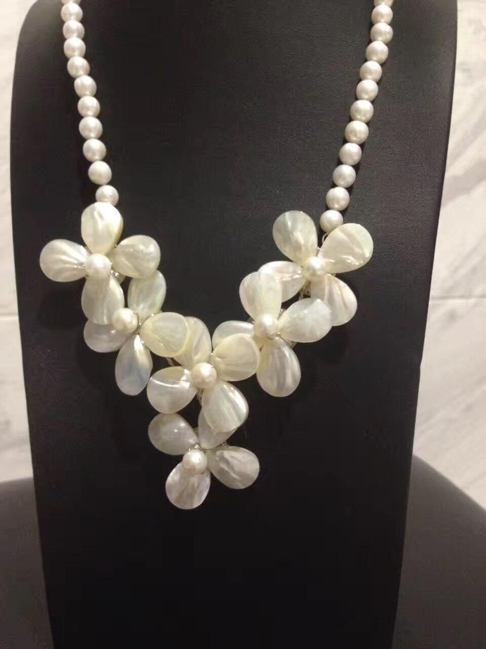 Collier de fleurs en coquillage naturel avec chaîne de perles d'eau douce 50 CM romantique mignon mode femmes bijoux livraison gratuite