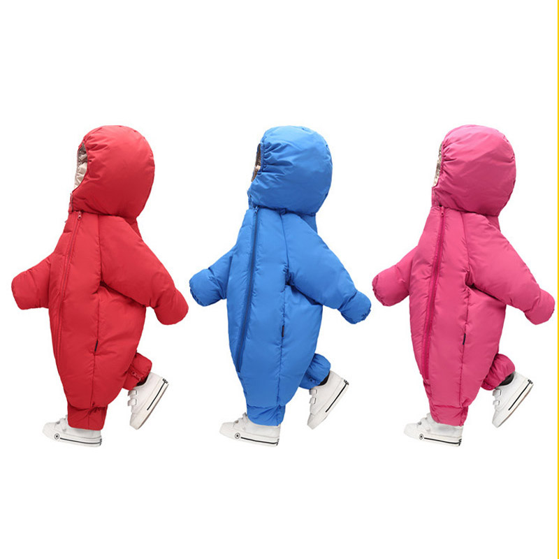 Winter Baby Rompers 2017 New Baby Boys Sky Blue Hooded Clothes Girls Warm Thicken Clothing Infant Vest + Snowsuits 2017 baby boys girls long sleeve winter rompers thicken warm baby winter clothes roupa infantil boys girls outfits cc456 cgr1