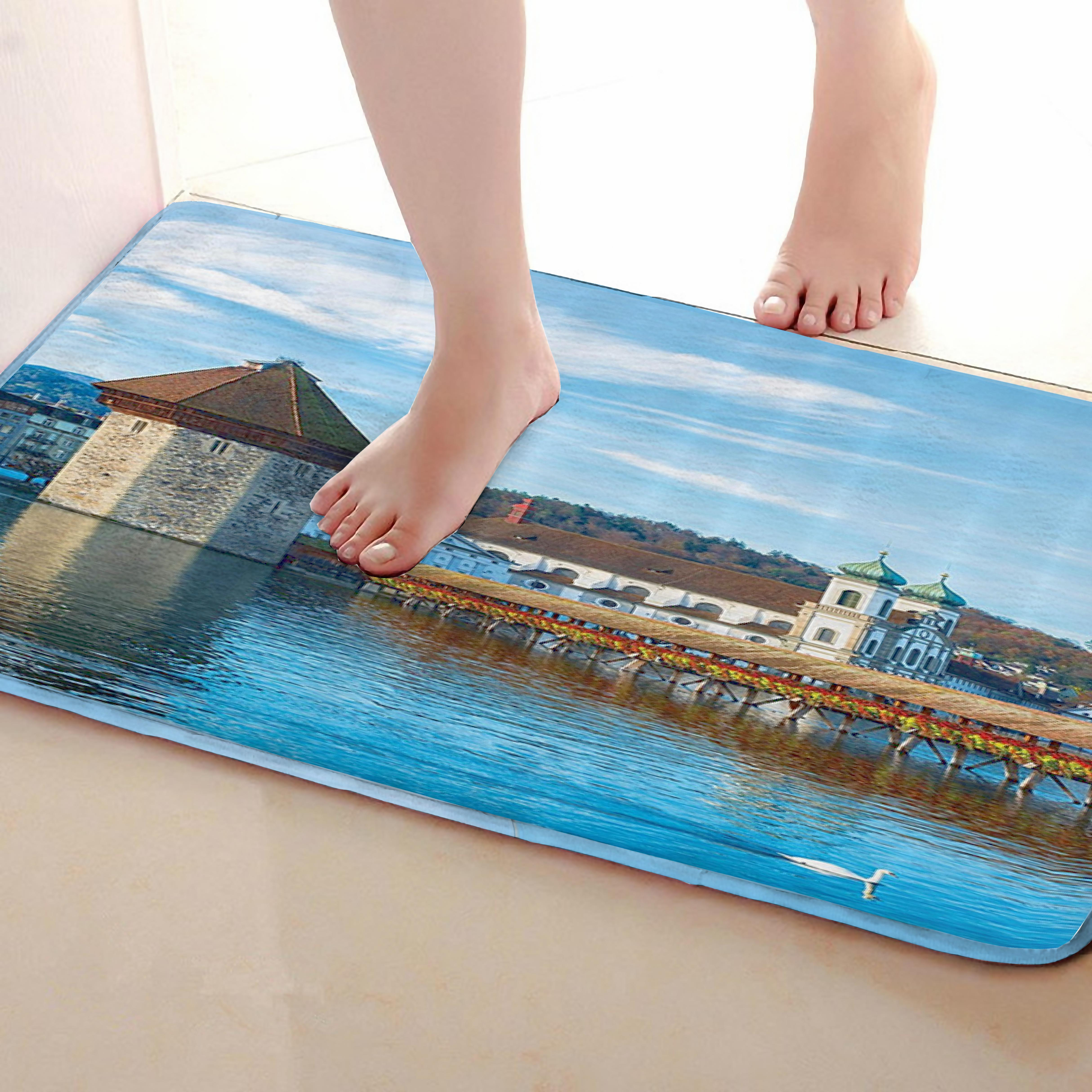 Lake Style Bathroom Mat,Funny Anti skid Bath Mat,Shower Curtains Accessories,Matching Your Shower Curtain
