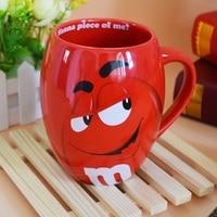 M&M's MM Beans Mugs Cute Cafe Oatmeal Coffee Mug Drinking Cups Ceramic Colored Glaze Coffee Milk Mug Water Tea Mugs Drinkware
