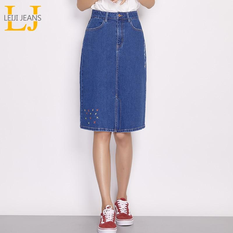 a99dd17af56 LEIJIJEANS New Arrival Spring And Summer Knee-length Embroidery Denim Skirt  Women Skirt Plus Size