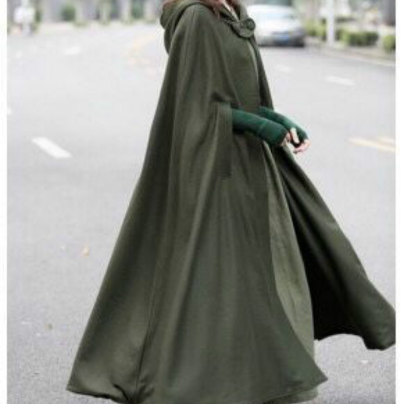 Shawl Long Cloak Windbreaker Women Clothes Bat Sleeved Autumn Winter Overcoat Streetwear Ladies Loose Plus Size   Trench   Green Red