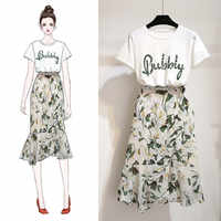 ICHOIX S-XL Womens 2 piece sets 2020 woman clothes 2 piece skirt set beach outfit cotton t shirt and print skirt