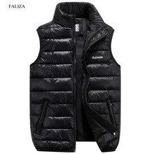 FALIZA kamizelka mężczyźni nowa stylowa wiosna jesień zima ciepły bezrękawnik kamizelka męska kamizelka moda płaszcze casualowe 6XL MJ F