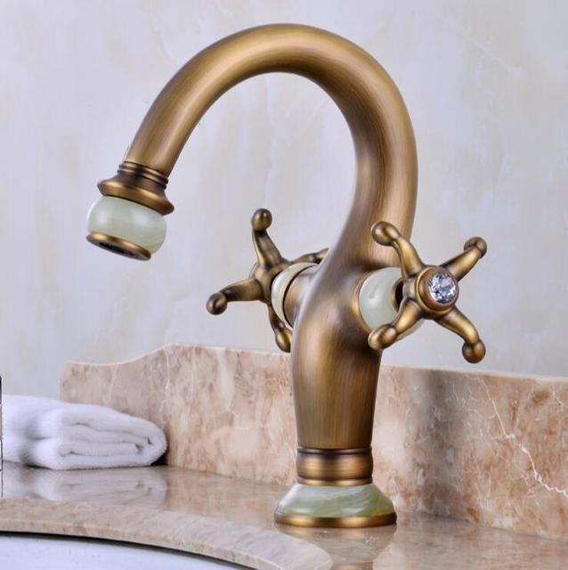 Retro Antique Faucets Bathroom Jade Double Handle Basin Mixer Tap ...