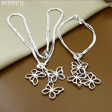 Free Shipping 925 Silver Jewelry Necklace Bracelet  Three Butterfly Fashion Jewelry Bracelet Necklace Wholesale
