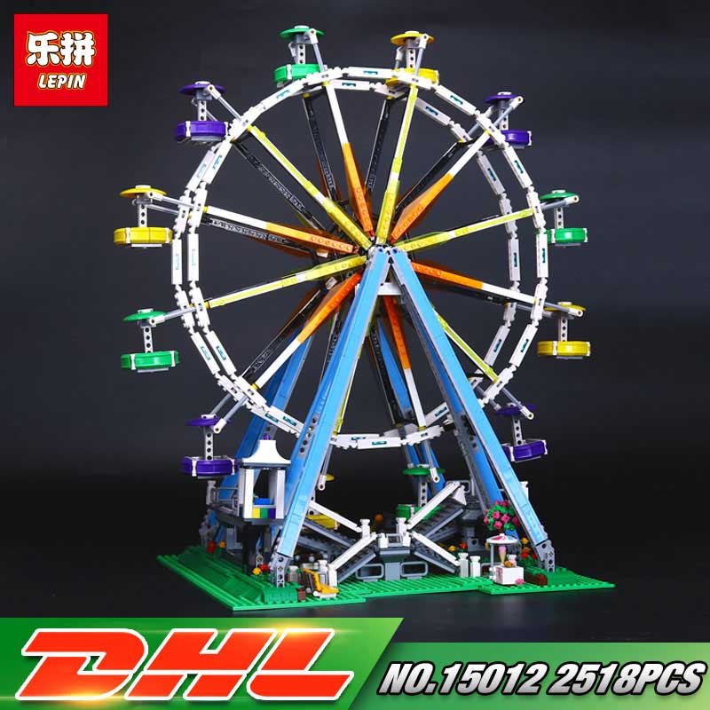 Lepin 15012 City Street Series the Ferris Wheel Model Educational Buildings Blocks Sets  10196 LegoINGly Construction Funny Toys dhl lepin 15012 2518 pcs city expert ferris wheel model building kits blocks bricks toys compatible with legoingly 10247