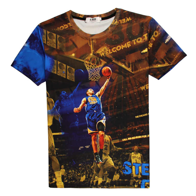 a02c57563 B16 2017 NBA SurperStar T Shirt Player Curry Durant 3d Printed Fashion Tops  Summer Tee Silk