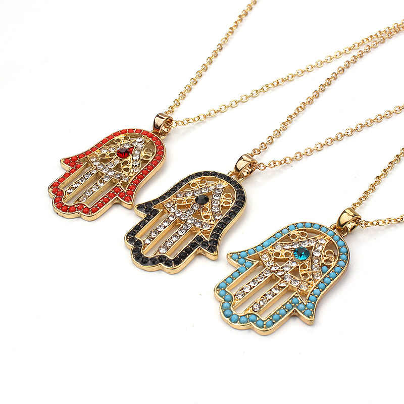 Lucky Eye Crystal Hamsa Hand Pendant Necklace Evil Eye Fatima Necklace For Women Female Jewelry Chain Link EY58