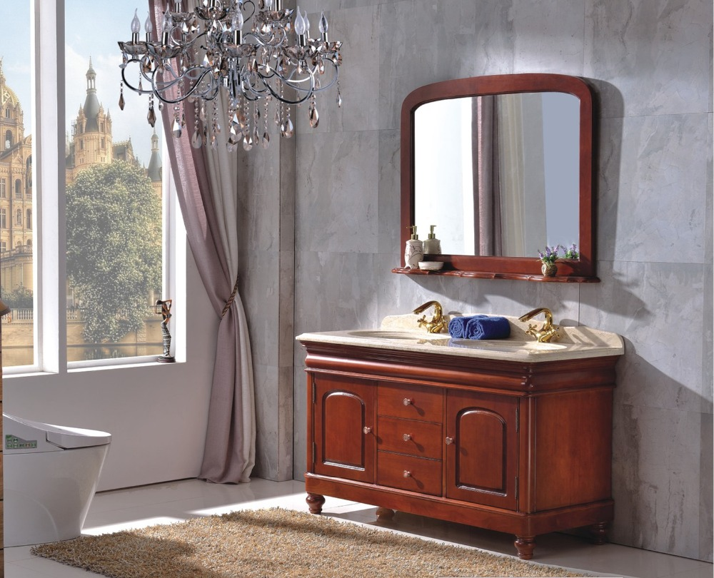 1.4m Solid Wood Bathroom Cabinet For Two Person 0281 B6001