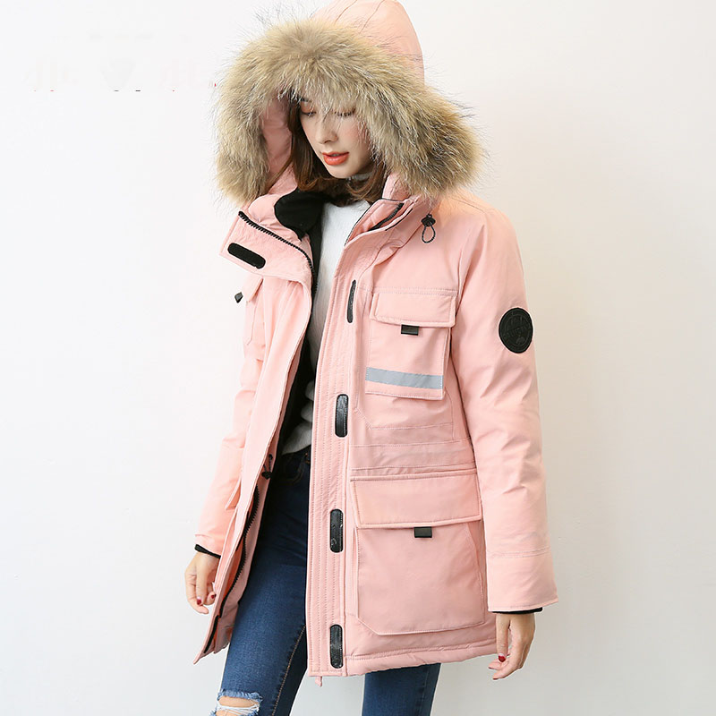 New 2019 autumn winter safari style   down     coat   outerwear women large real raccoon fur collar hooded water proof big pockets
