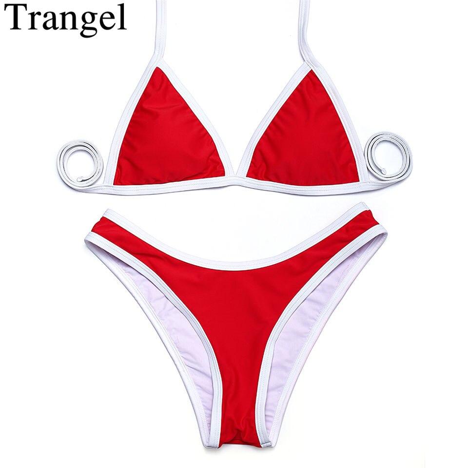 Trangel high cut bikinis 2018 New arrival sexy women bikini swimwear women solid beachwear Brazilian bikini set biquinis EG500