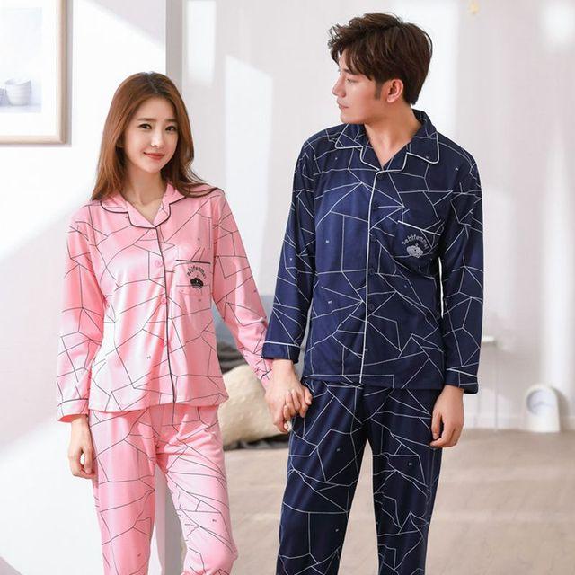 cd48cc4d € 13.24 20% de DESCUENTO|Conjuntos de pijamas cómodos suaves de algodón  para parejas para mujeres 2018 Otoño Invierno Pijama de manga larga para ...