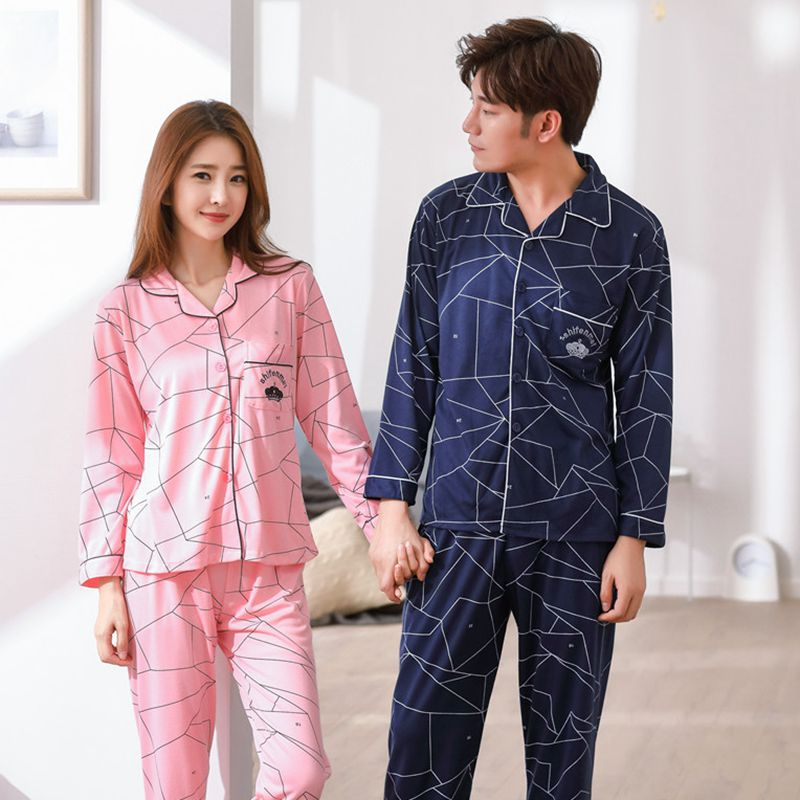 Couples Cotton Soft Comfortable   Pajamas     Sets   for Women 2018 Autumn Winter Pijama Long Sleeve Pyjama Men Lounge Homewear Clothing