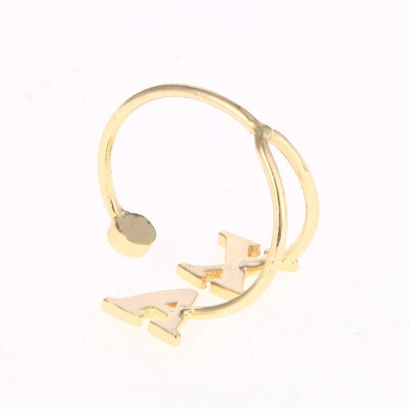 METOO золото пользовательское имя инициалы кольцо Doul письмо камень кольцо золото Алфавит парные кольца для Etsy персонализированные ювелирные изделия