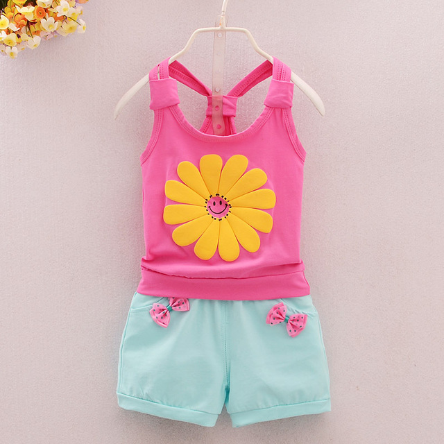 58a978762 Girl s Vest Shorts Suit Sunflower Tops Pants 2 Pcs Sets Children s ...