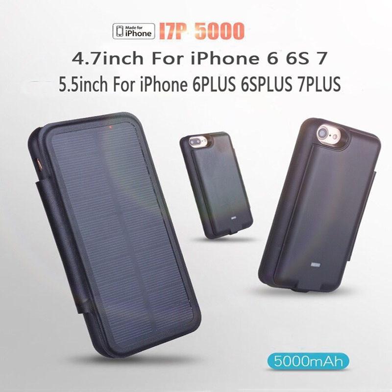 imágenes para 5000 mah solar nuevo clip de la batería portátil recargable power bank cargador de batería de la contraportada para iphone 7 7 plus 6 s 6 plus