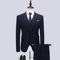 Jacket +Pant +Vest , Men Suits Luxury Wedding Dress Formal Prom Suits Sets Wedding Dress, Plus size Business Solid Color Blazer