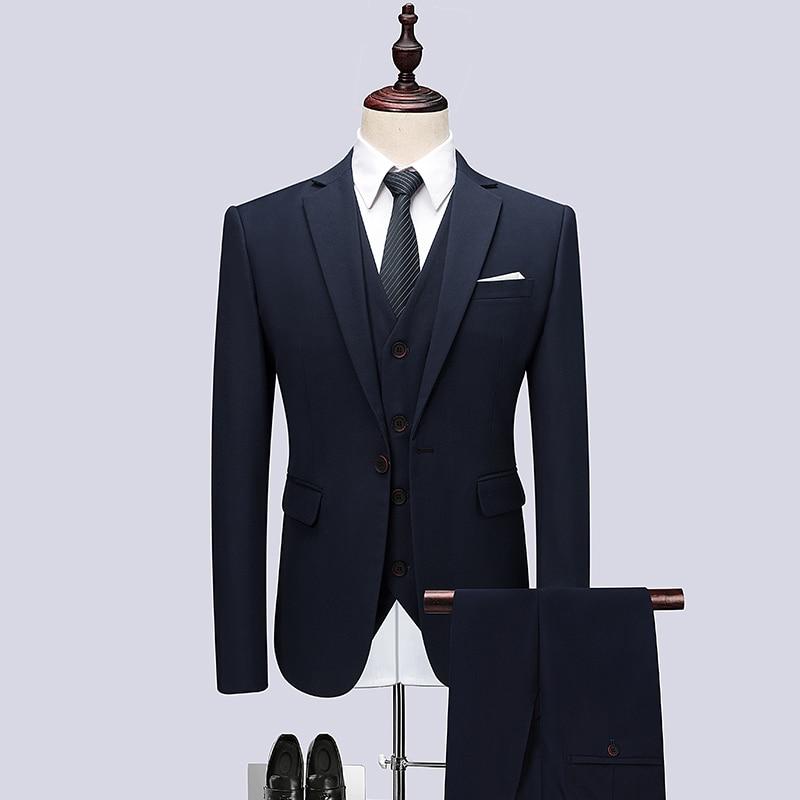 Veste + Pantalon + Gilet, hommes Costumes De Mariage De Luxe Robe Formelle De Bal Costumes Ensembles De Mariage Robe, plus la taille Affaires Solide Couleur Blazer