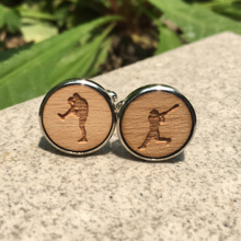 MLB Baseball Player Silhouette Laser Cut Wood Cufflinks Sport Jewelry Groomsmen Gift Batter & Catcher Wooden Cufflinks x 1 Pair
