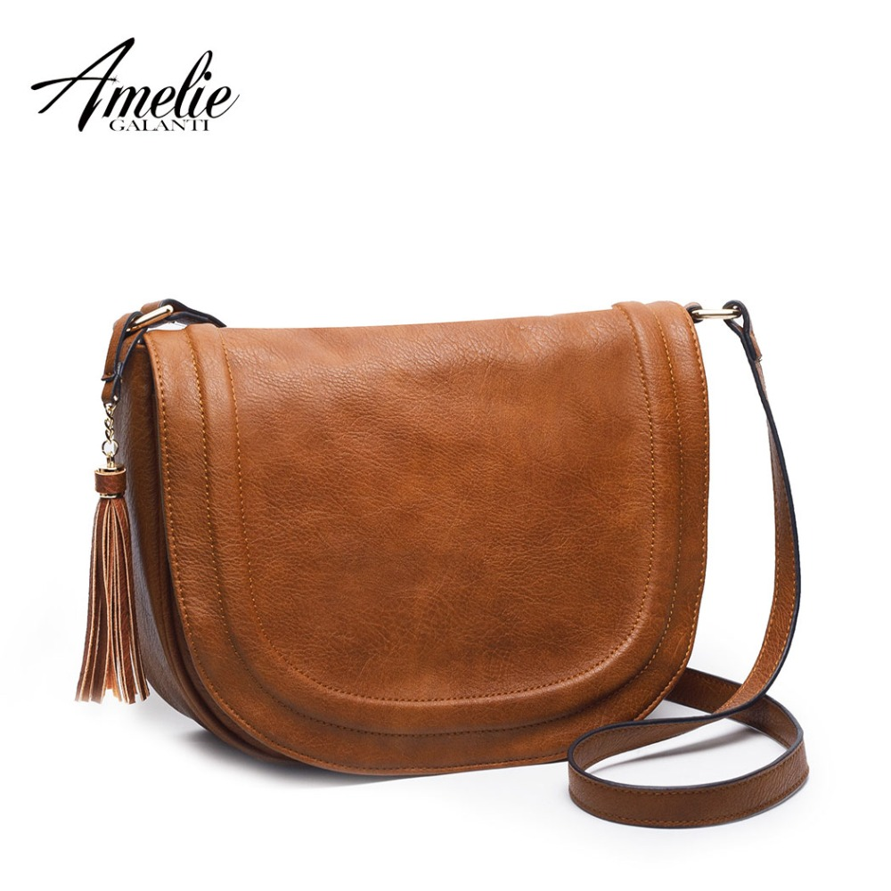 AMELIE GALANTI Large Saddle Bag Crossbody Bags for Women Brown Flap Purses  with Tassel Women Shoulder Bags PU Leather Women Bag