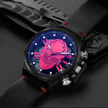 Relojes 2018 Fashion Watch Punk 3D Hollow Skull Mens Watches Top Brand Luxury Quartz Clock Waterproof  Sports Wristwatch