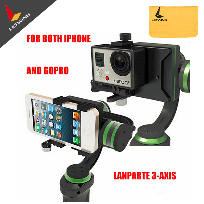 Lanparte Lpt HHG-01 3-Axis Handheld Gimbal Stabilizer for DSLR Camera Smartphone for iphone 6 plus for Gopro 4 x cam sight2 2 axis smartphone handheld stabilizer mobile phone brushless gimbal with bluetooth for iphone samsung xiaomi nexus
