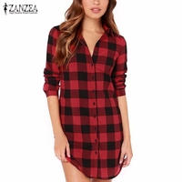 2015 New Arrival Autumn Women European Style Plaid Casual Loose Long Shirts Ladies Long Sleeve Lapel