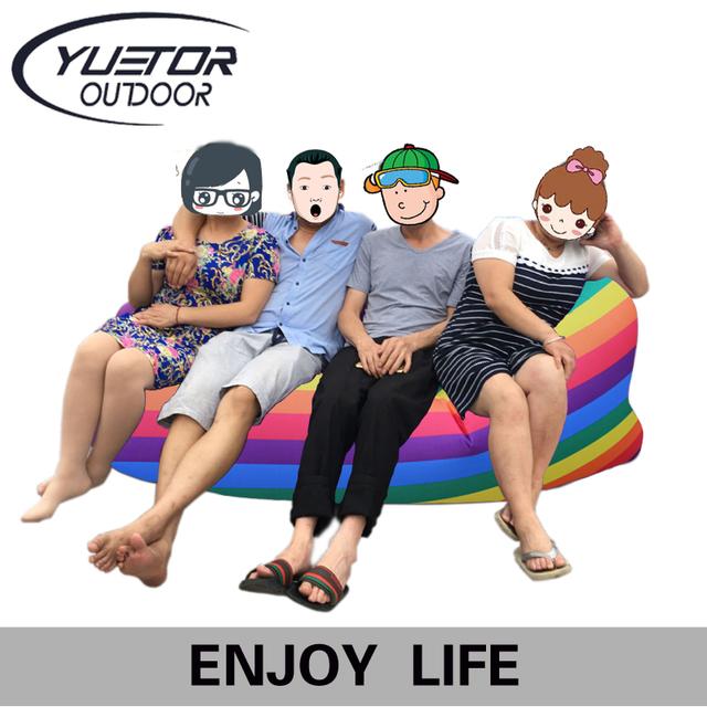 Yuetor Drop ship Bãi Biển nằm túi Hangout ngủ Air Giường Lounger laybag Ngoài Trời nhanh chóng folding ngủ inflatable air sofa lazy túi