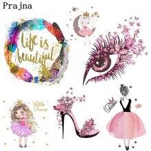 Prajna Fashion Girl Iron On Heat Transfers Cute Barbie Unicorn Cartoon Stripe Clothes Patch Summer Style Ironing Sticker