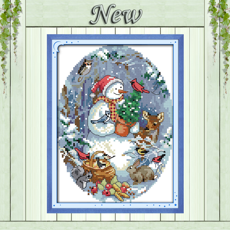 The snowman's friends Christmas Drawing 11CT DMC Pattern printed on fabric 14CT DIY Cross Stitch Embroidery Sets Needlework kits image