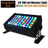 TIPTOP 54x3W RGBW 4 Color Waterproof Slim Led Wall Washer Light R:12;G:18;B:18;W:6 Tyanshine Originall Leds DMX512 Control