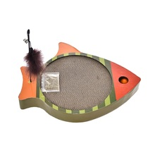 Cat Scratch Bed  Corrugated Fish Shape Two-side Usable with a Pole Animals Cat Scratching Cat Toys Kitten Paper Cardboard