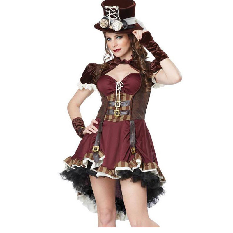 Female Pirate Costume Adult Steampunk Womens Pirate Clothes Corsair Cosplay Vampire Dress Cowboy Cowgirl Halloween Party