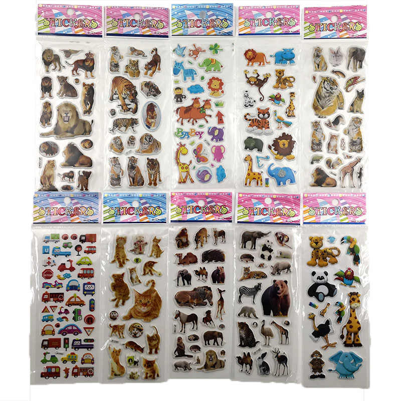 10Sheets Different 3D Cute Cartoon Stationery Sticker Pegatinas Funny For Children On Scrapbook Phone Laptop Gifts Animals Tiger