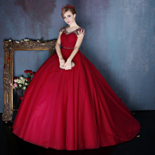 BONJEAN Elegant Dark Red Puffy Ball Gowns Beaded Prom Dress
